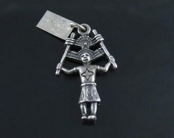Charm, Sterling Silver, Bell Trading Post, Vintage, Southwestern, Native American, Kachina Doll, Deity Dancer, 925 SIlver Charm