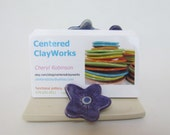 Business Card Holder Cell Phone Stand Purple Flower Handmade Pottery