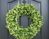 Artificial Boxwood, Boxwood Wreaths, Spring Boxwood Wreaths, Faux Boxwood Wreath, Outdoor Boxwood Wreaths, Spring Decor, Spring Door Wreaths