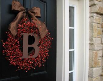 Thanksgiving Wreaths, Thanksgiving Decor, MONOGRAM Wreath, Personalized Fall Wreaths, WEDDING Wreaths, Fall Door Wreaths, Fall Berry Wreaths