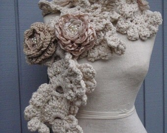 Scarf crochet, off white scarf , long scarf, handmade scarf, scarve, champagne color flowers