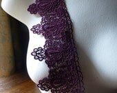 SALE Burgundy Lace Venice Style in Burgundy Wine for Garments, Applique, Costume or Jewelry Design CL 3002b