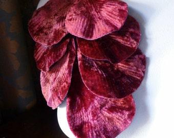 Velvet  Leaves in RED for Millinery, Bridal,  Floral Supply, Sashes, Costume Design, Crafts ML 69