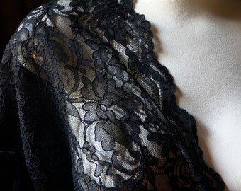 """REMNANT 81"""" x 26""""  Alencon Lace Fabric in BLACK for Grad, Bridal, Mother of the Bride, Skirts, Evening Wear"""
