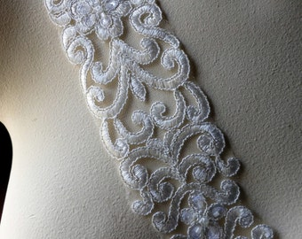 """REMNANT  68"""" Beaded Lace Trim in Off White with Silver for Bridal, Sashes, Straps. Headbands, Costumes BL 106"""