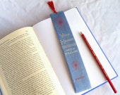 Fabric-Backed Book Spine Bookmark - Virus Hunters - Greer Williams - red, blue, silver, knoff