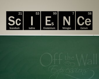 Science wall decal - Periodic Table -  elements vinyl wall art decal - Classroom decor