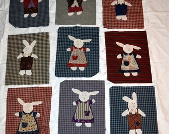 Adorable Old Time Bunnies Appliqued Quilt Squares
