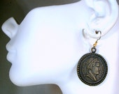 Napoleon Griffin Coin Earrings, OOAK Rachelle Starr, Dark Brass Color Round Metal Dangles on Earwires, 2015