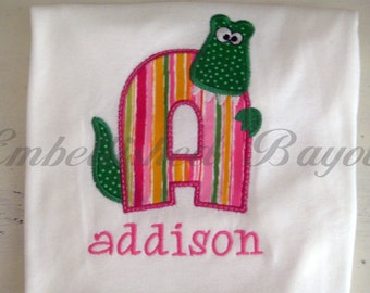 Personalized Appliqued Ruffle T-shirt with Alligator Initial for Girls
