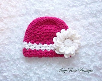 Newborn to 3 Month Old Baby Girl Crochet Flower Hat Pink and White Stripe
