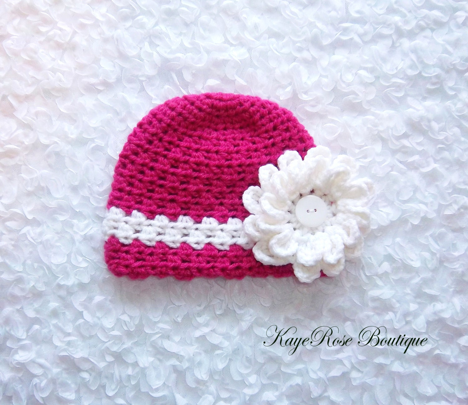 Crochet Hat Pattern For 8 Month Old : Newborn to 3 Month Old Baby Girl Crochet Flower Hat Pink and
