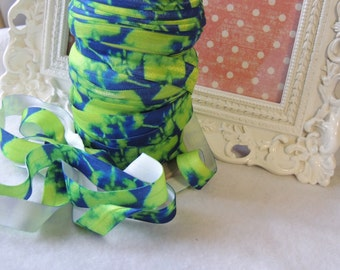 "5 Yards of 5/8"" Tie Dye Fold Over Elastics FOE  Blue and Lime Green Seahawk inspired"