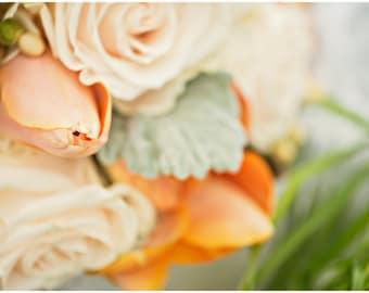 Peach Rose Flower Bouquet  Fine Art Canvas wrap -Washington -Pacific Northwest -Macro