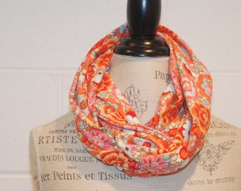 Orange and Blue Multicolored European Floral Print Cowl Infinity Scarf - 100% Cotton Knit Jersey Fabric - Fall Winter Fashion Accessory