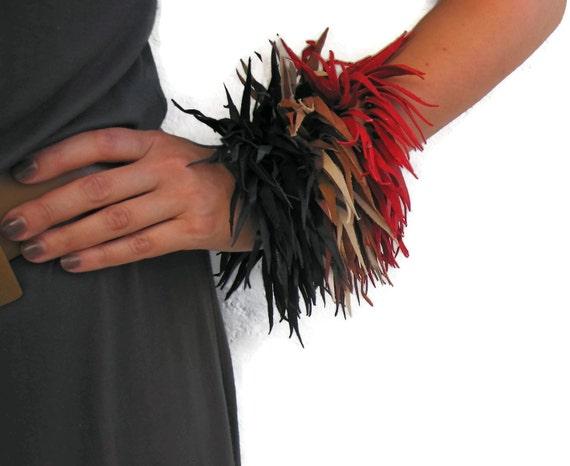 Wholesale Jewelry Bundle of 3 Leather Fringe Cuffs. Wholesale Jewelry
