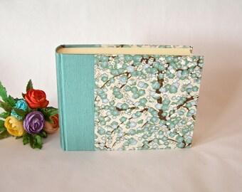 Photo album - aqua plum blossom chiyogami - 6x8in.15x20.5cm -50 pages  - Ready to ship