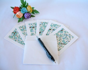 Japanese paper - six blank notecards -all one pattern- aqua plum blossom chiyogami - Ready to ship