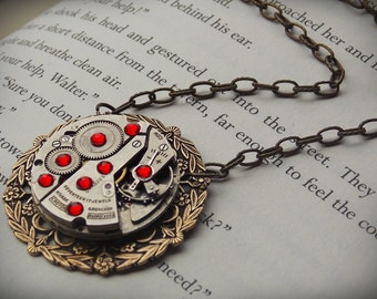 Steampunk Necklace - 8 Red Swarovski Crystals - Brass Filigree - Clockworks - Vintage Watch Movement Steampunk Jewelry