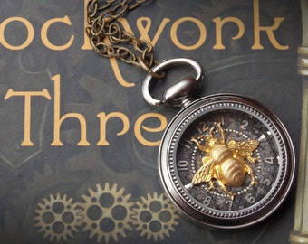 Pocket Watch Necklace - Brass Bee - Vintage Watch Face - Steampunk Jewelry - Recycled Watch