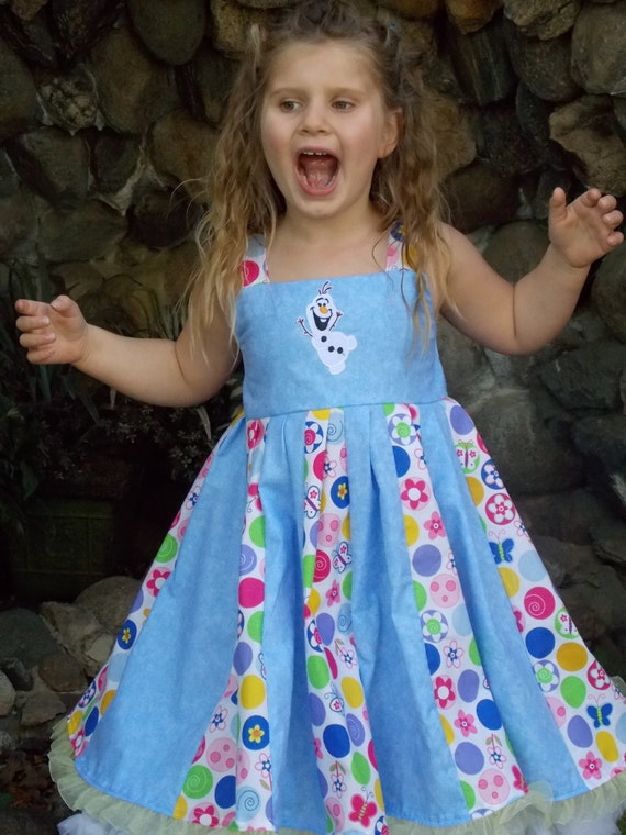 Custom Boutique Twirl Dress Designed with Disney Olaf patch 2T-6X