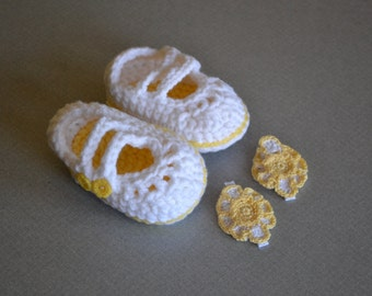 Mary Janes and Hair Bows in Buttercup Yellow