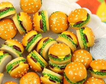 Fake Food - 20mm Big Chunky Hamburger Junk Food Flatback Resin Cabochons - 6 pc set