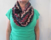 Beautiful Soft Thick Wide Winter Fall Multicolor Crochet Cowl Scarf Neck warmer With Detachable Black Flower