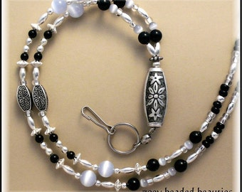 Black Silver Beaded Lanyard/Id Badge Holder/Necklace