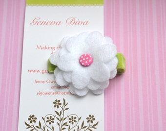 Pretty White Daisy with Pink Felt Hairclip
