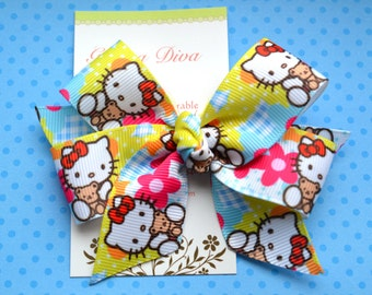 Patchwork Hello Kitty and Bear Classic Diva Bow