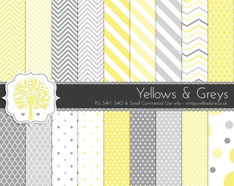 PP0020 - 18 Digital Papers -  Yellow & Grey Digital Paper Patterns for Personal Use and Small Commercial Use
