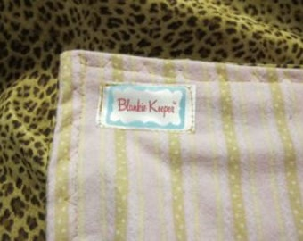 Leopard with Pink & Champagne Striped Flannel – Blankie