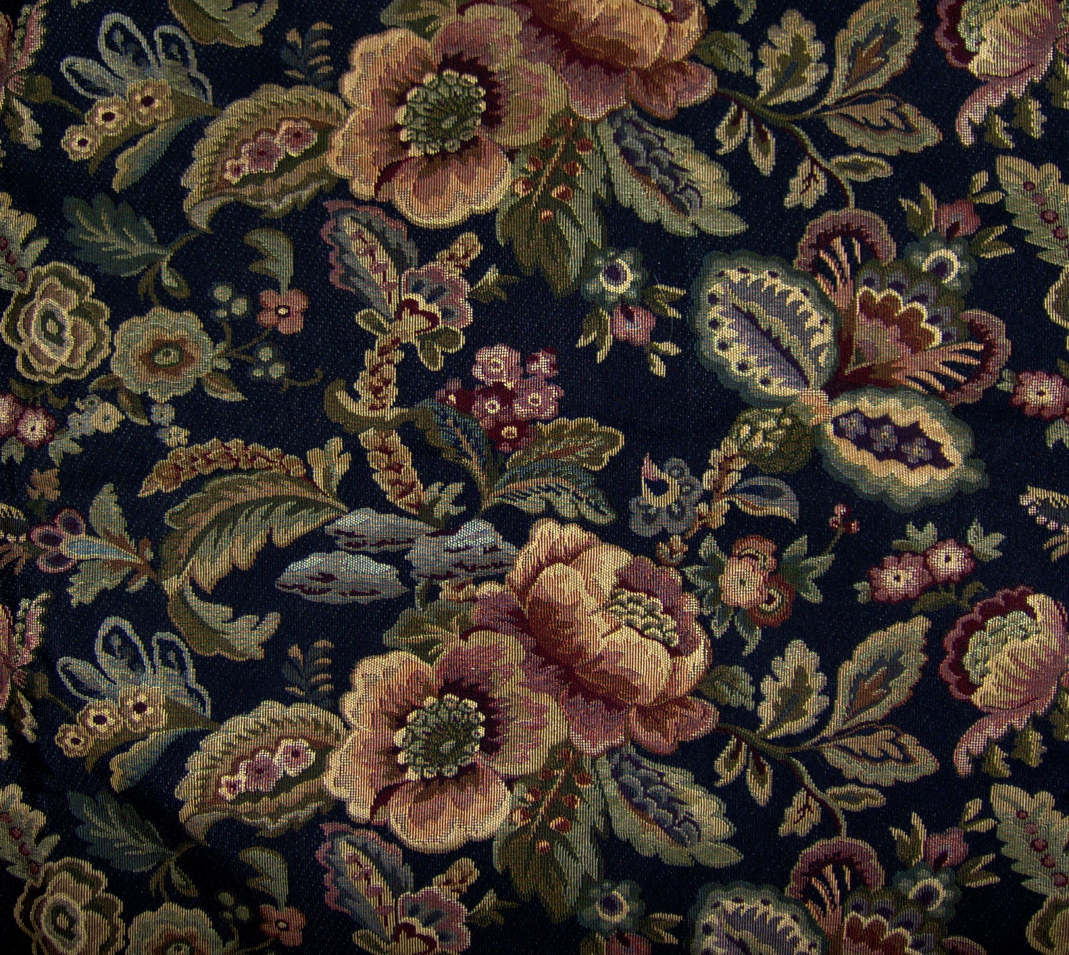 Vintage floral tapestry fabric home dec upholstery woven black for Floral upholstery fabric