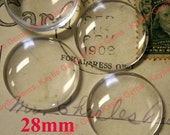 28mm Round Clear Glass Cabochon Super Smooth for Photo Collage Glue on Projects - 8pcs
