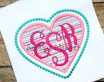 Machine Embroidery Design Applique Heart Beaded INSTANT DOWNLOAD