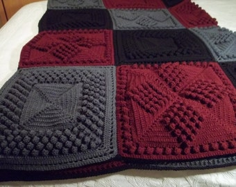 Afghan Crocheted in Popcorn in Black, Charcoal and Burgundy, Blanket, Throw