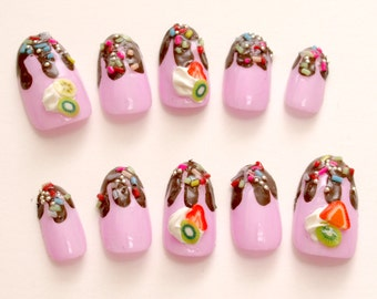 Chocolate drip nails, sprinkle, fake sweets, Harajuku, Japanese 3D nails, cute nail, pink, fruit, miniature food, false nails, oval nails,