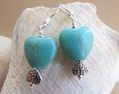 Turquoise Howelite Double Heart Earrings, Handmade by Harleypaws, SRAJD