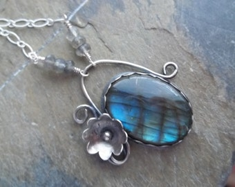 Labradorite and Sterling Silver Flower Necklace