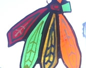 2015 STANLEY CUP CHAMPIONS!! Chicago Blackhawks Feathers Themed Suncatcher/Ornament