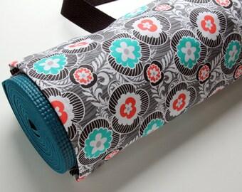 Yoga Mat Bag, Yoga Mat Carrier, Womens Yoga Bag, Gray, Turquoise and Red Floral Yoga Bag