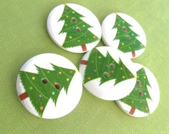 3 Vintage Christmas tree Wooden Buttons - Green and white craft buttons 30mm