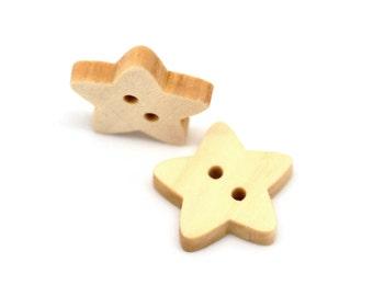 Star button - 10 Wooden craft buttons 18x17mm (BB093)