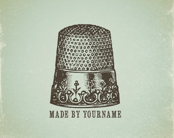 Custom Stamp   Custom Rubber Stamp   Personalized Stamp   Vintage   Thimble Stamp   Sewing Stamp   V18
