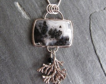 Pendant of Medicine Bow Agate and Cast Cypress in Sterling Silver