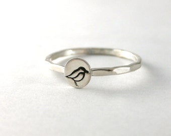Stack Ring, Bird Ring, Custom Stack Ring,  Silver Bird Ring, Personalized Ring