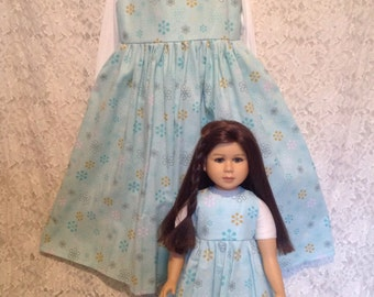 Blue Snowflakes * Matching dress for Child sz 12 14 and American Girl or My Twinn or Bitty Baby - sewnbyrachel