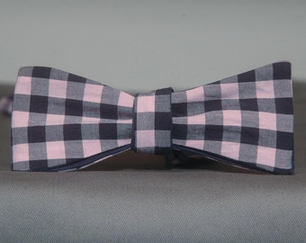 Blueberry Cotton Candy Gingham  Bow Tie