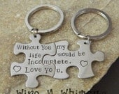 Couples Stainless Steel Puzzle Piece Keychains